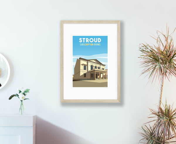 Stroud Subscription Rooms Poster in wood frame