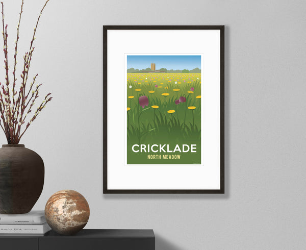 Cricklade North Meadow Poster in black frame