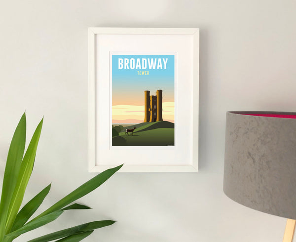 Broadway Tower Poster in white frame