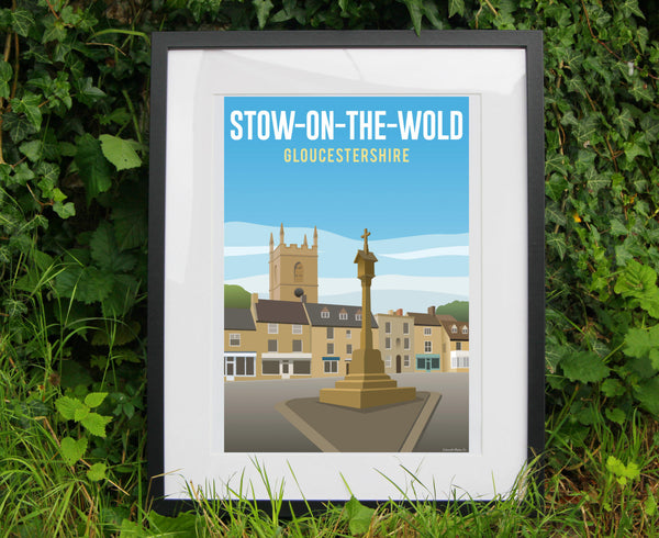 Stow-on-the-Wold Poster in black frame