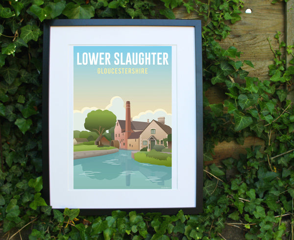Lower Slaughter Poster in black frame