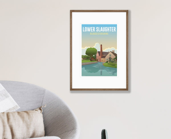 Lower Slaughter Poster in walnut frame