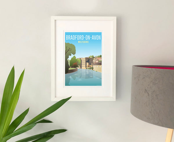 Bradford-on-Avon Poster in white frame