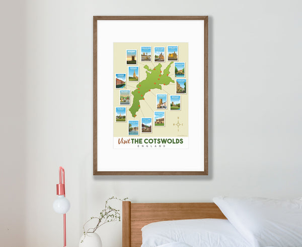 Cotswold Map Poster in walnut frame