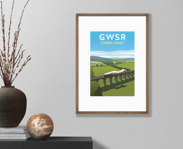 GWSR Stanway Viaduct Poster in walnut frame