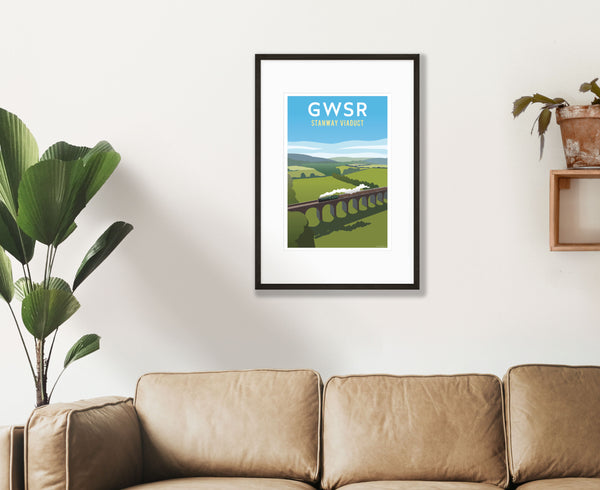 GWSR Stanway Viaduct Poster in black frame