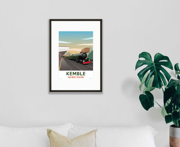 Kemble Railway Station Poster – Limited Edition in black frame