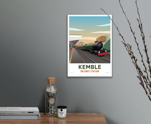 Kemble Railway Station Poster – Limited Edition in white frame