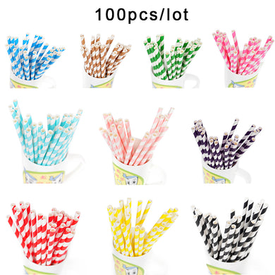 Paper Straws 100pcs with stripes