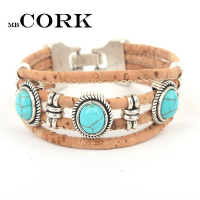 Cork Handmade Turquoise Bracelet - Made in Portugal
