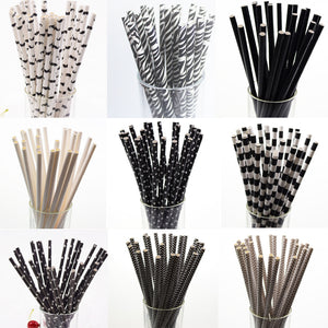 Paper Drinking Straws Black and white - 25 /pack - Sumi