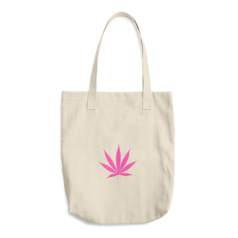 Pink Pot Leaf Cotton Tote Bag