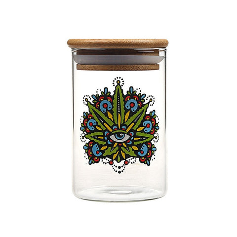 Sealed Glass Weed Eye Herb Jar