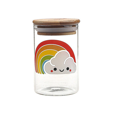 Sealed Glass Rainbow Cloud Herb Jar
