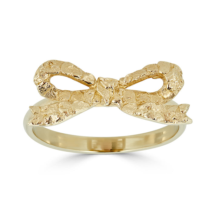 Gold nugget Bow Ring