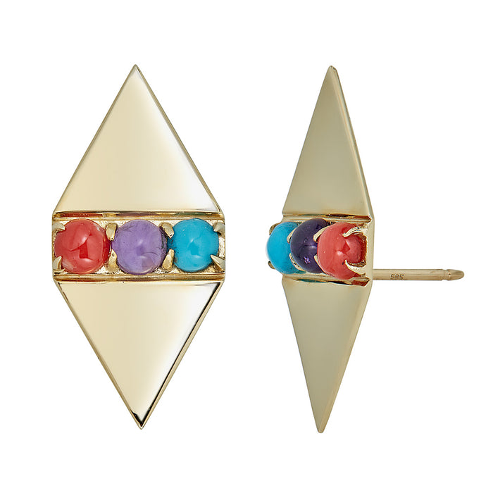 Holborn Studs in Coral, Amethyst and Turquoise