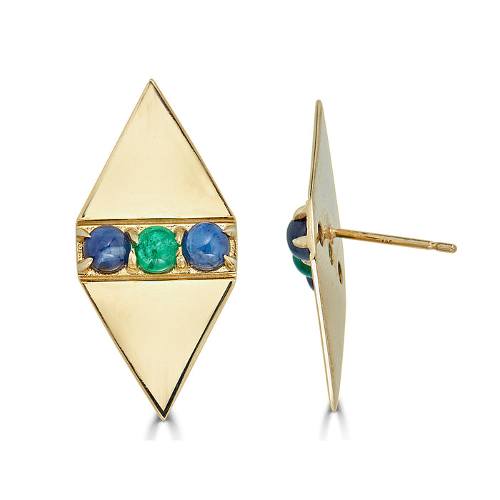 Holborn Studs in Emerald and Sapphire