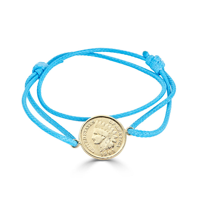 Penny Charm Wrap Bracelet in Turquoise