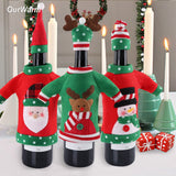 3pcs Red Wine Bottle Cover Christmas Party Decoration