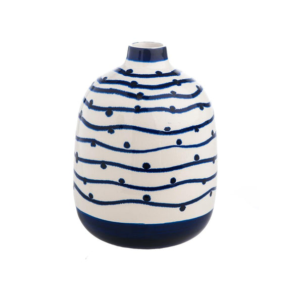 Navy Wave with Dots Vase