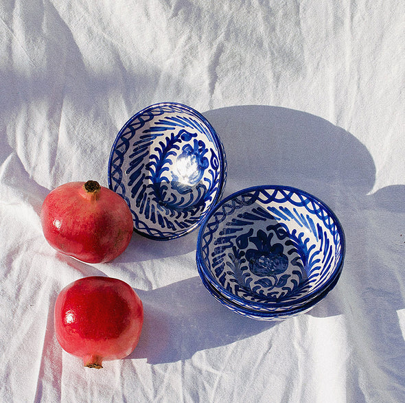 two webster, home decor, kitchenware, serving bowl, striped bowl, ceramic bowl, blue and white bowl, spanish bowl, handmade, pomelo casa, small bowl