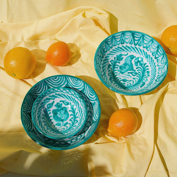 two webster, home decor, kitchenware, serving bowl, striped bowl, ceramic bowl, green and white bowl, spanish bowl, handmade, pomelo casa, small bowl