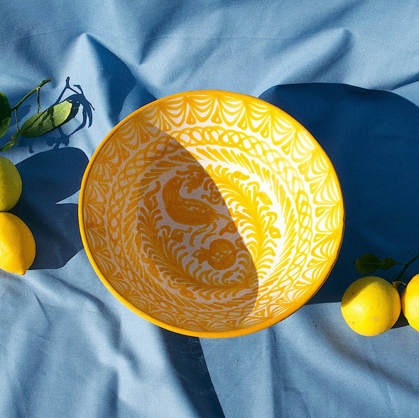 two webster, home decor, kitchenware, serving bowl, striped bowl, ceramic bowl, yellow and white bowl, spanish bowl, handmade, pomelo casa, small bowl