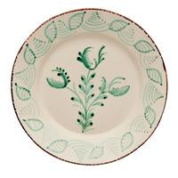 Spanish plates, set of 2, kitchenware, home decor, green and white, floral design, two webster