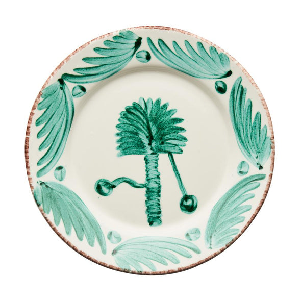 green and white, palm tree design, two webster, spanish plates, kitchenware, home decor