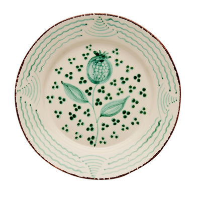 Spanish plates, green and white, poppy waves, two webster, kitfchenware