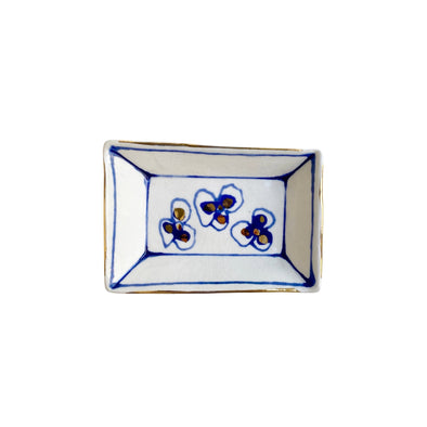 rectangle dish, blue and white dish, ring dish, two webster, home decor, flower dish