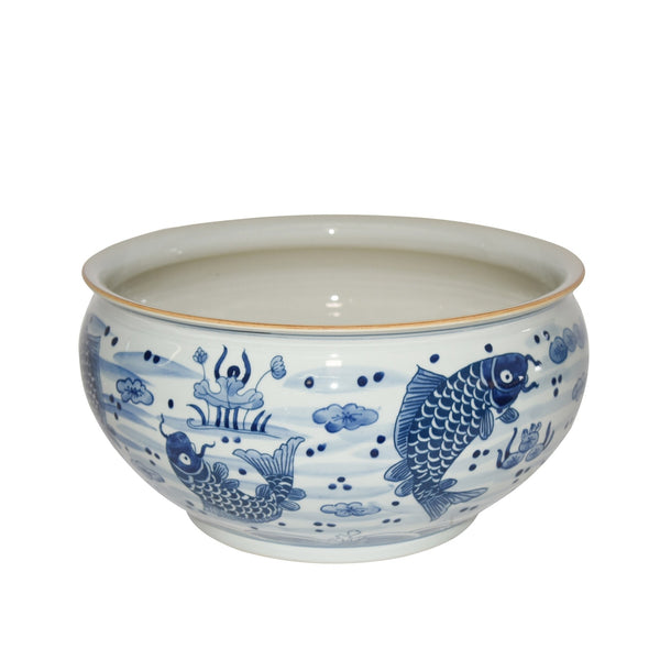 large ceramic bowl, fish design, orchid bowl, blue and white, two webster
