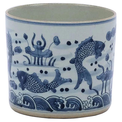pot for plants, decor, food, storage, blue and white design, fish design, orchid pot, two webster
