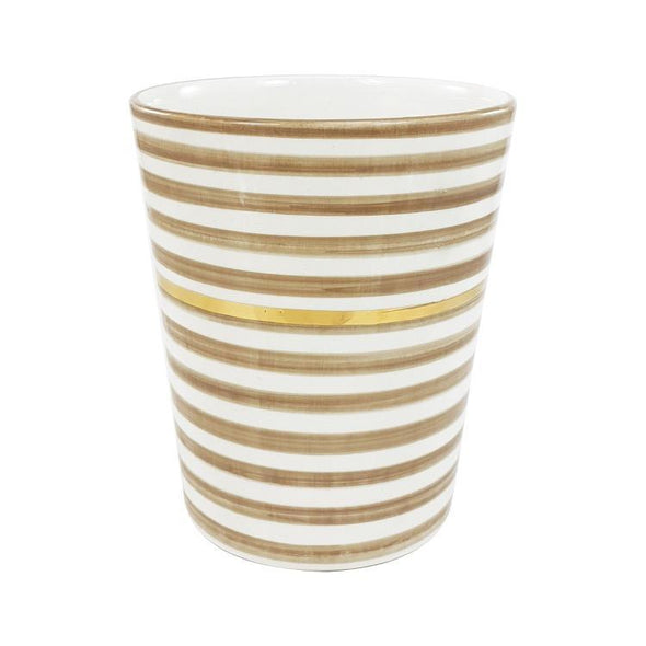 beige and white striped vase, chabi chic, two webster