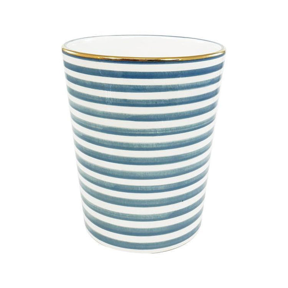 blue and white striped vase, chabi chic, gold detail, two webster