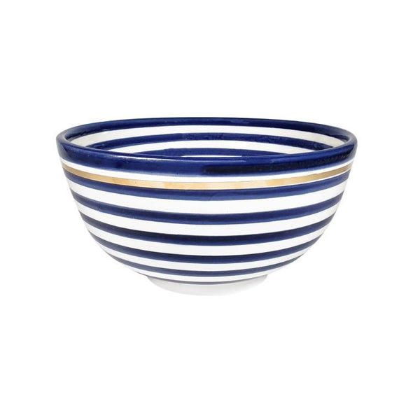 two webster, home decor, kitchenware, serving bowl, striped bowl, ceramic bowl, blue and white bowl, moroccan bowl, salad bowl, gold edged bowl, l