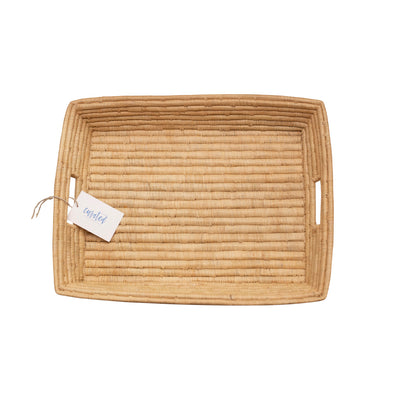 two webster African woven rattan rectangle tray