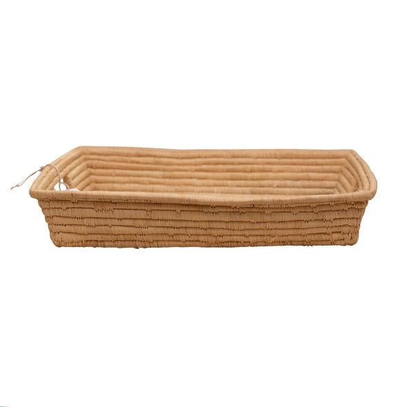 two webster African woven rattan rectangle tray side, side view, exclusive design
