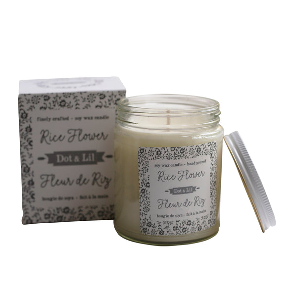 rice flower candle, dot and lil candle, two webster