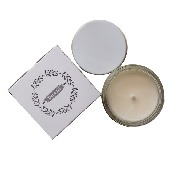 birds eye view, candle, rice flower scented