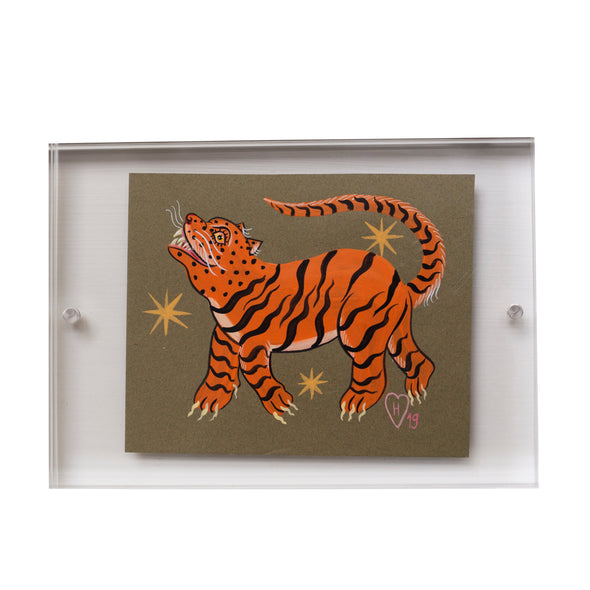 Herikita Conk signed, original artwork, two webster exclusive, tiger print, tiger stripes. green background