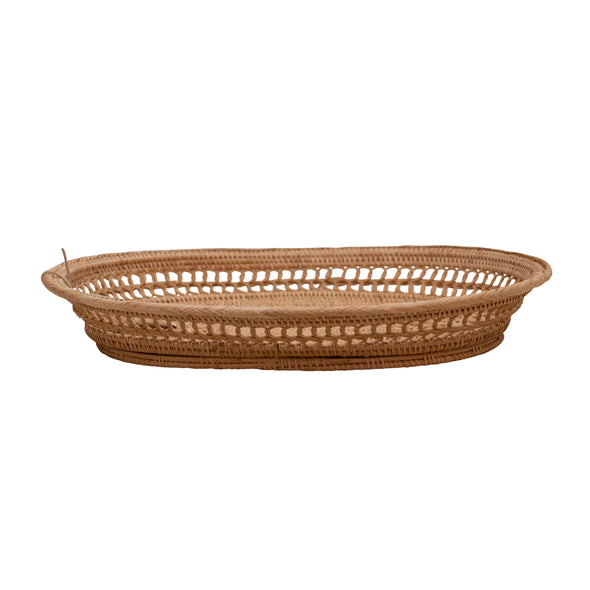 side view, woven rattan tray, two webster decor set