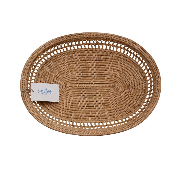 Light Rattan Oval Tray