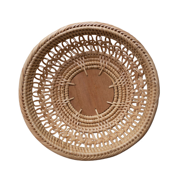 birds eye view, woven rattan tray, two webster decor set