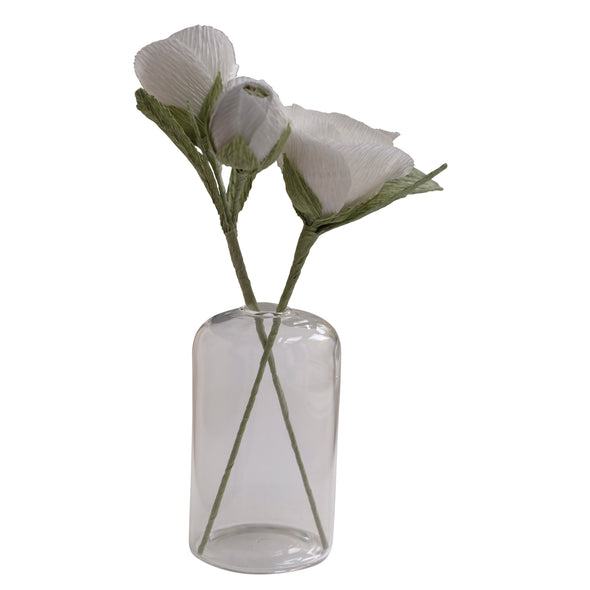paper and bead, glass vase, paper maiche flowers, white flowers, decor