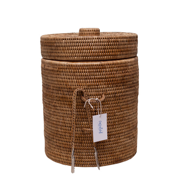 woven rattan ice bucket, insulated, two webster, home decor