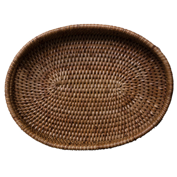 rattan oval tray, size small, beige natural color