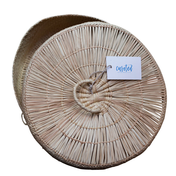 Round Woven Basket with Lid