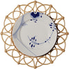 woven placemat with ceramic white and blue plate