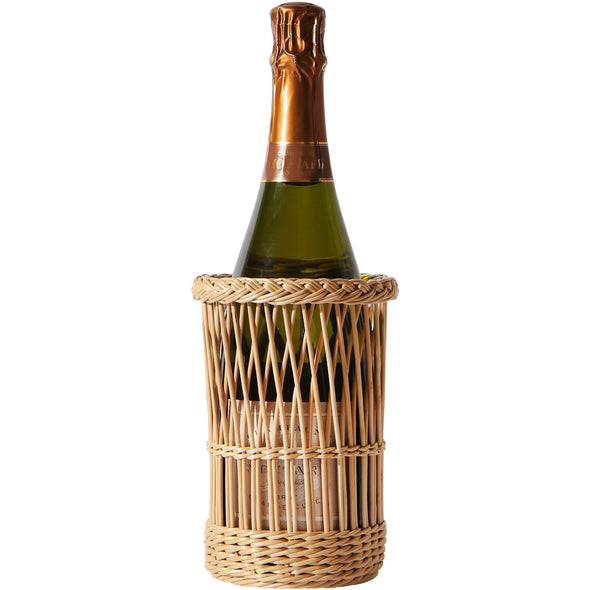 champagne, champagne holder, woven alcohol holder, liquor holder, two webster